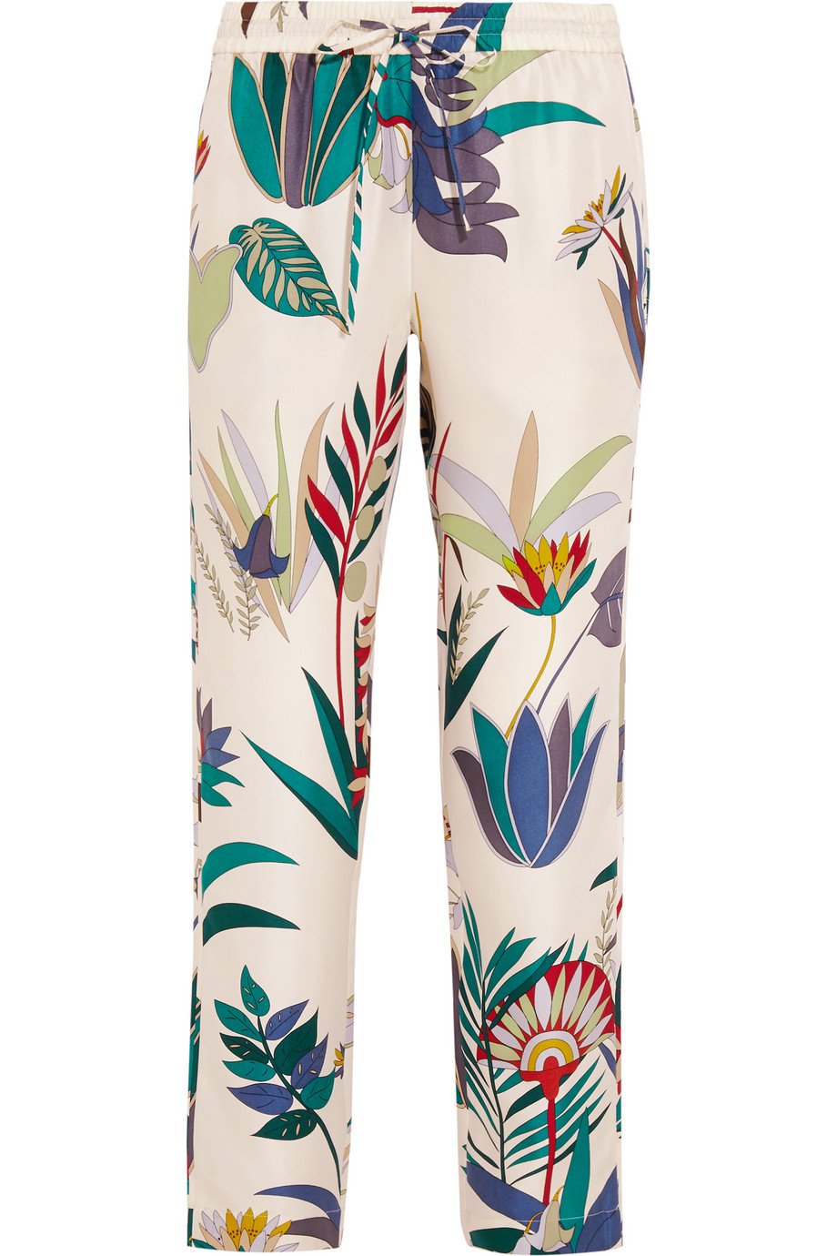 Tory Burch Adele Printed Silk-Twill Tapered Pants, White, Women's, Size: 0