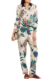 Adele printed silk-twill tapered pants
