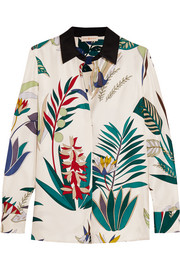 Tory Burch Madison printed silk-twill shirt