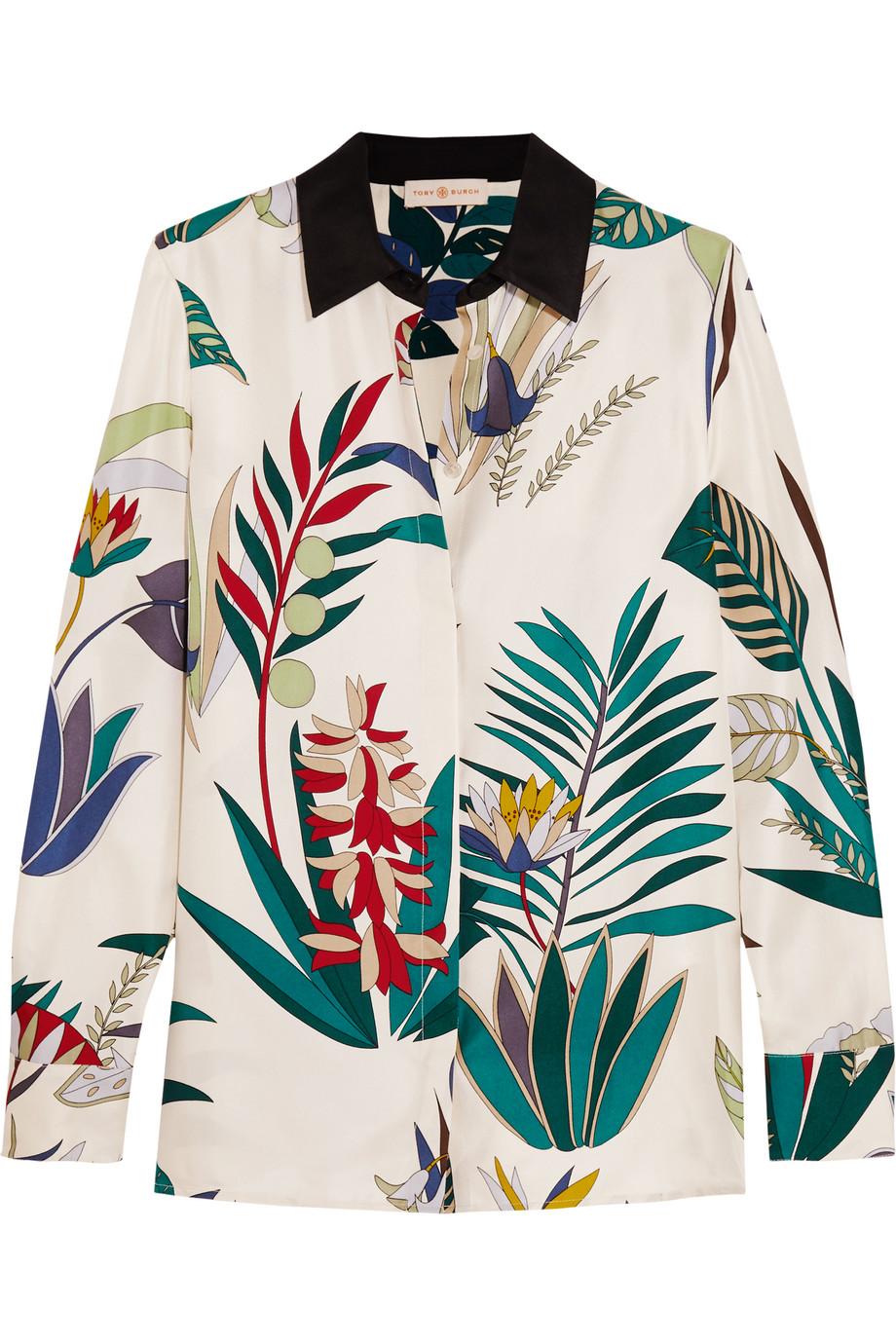 Tory Burch Madison Printed Silk-Twill Shirt, White, Women's, Size: 8