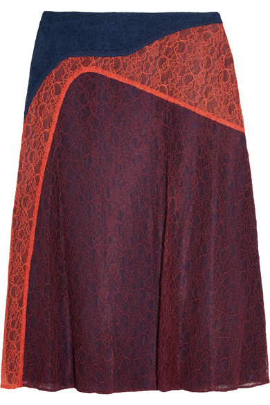 Tory Burch - Kassia Paneled Lace Skirt - Navy