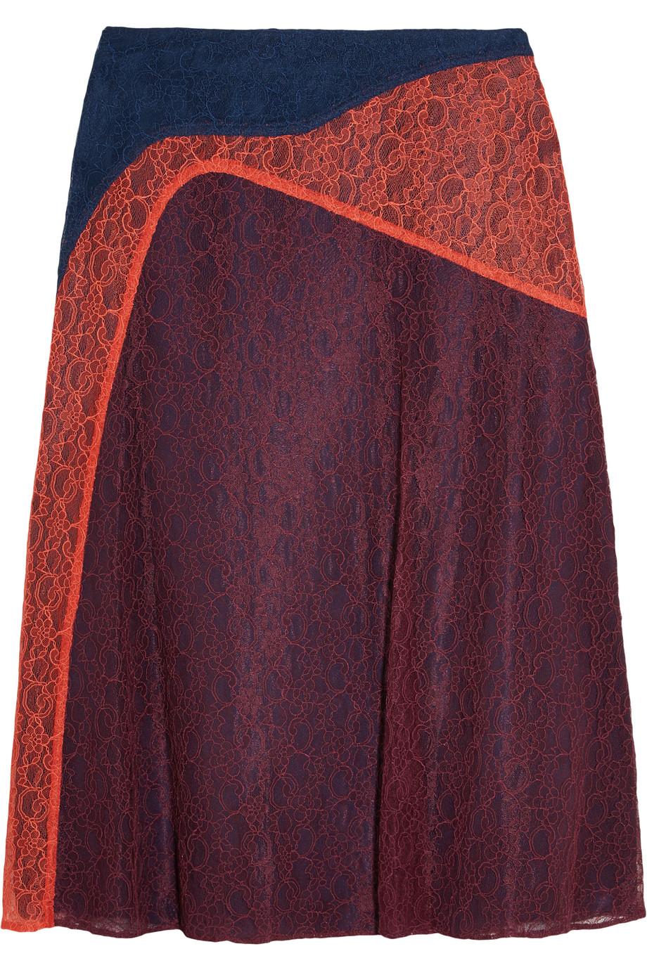 Tory Burch Kassia Paneled Lace Skirt, Size: 8
