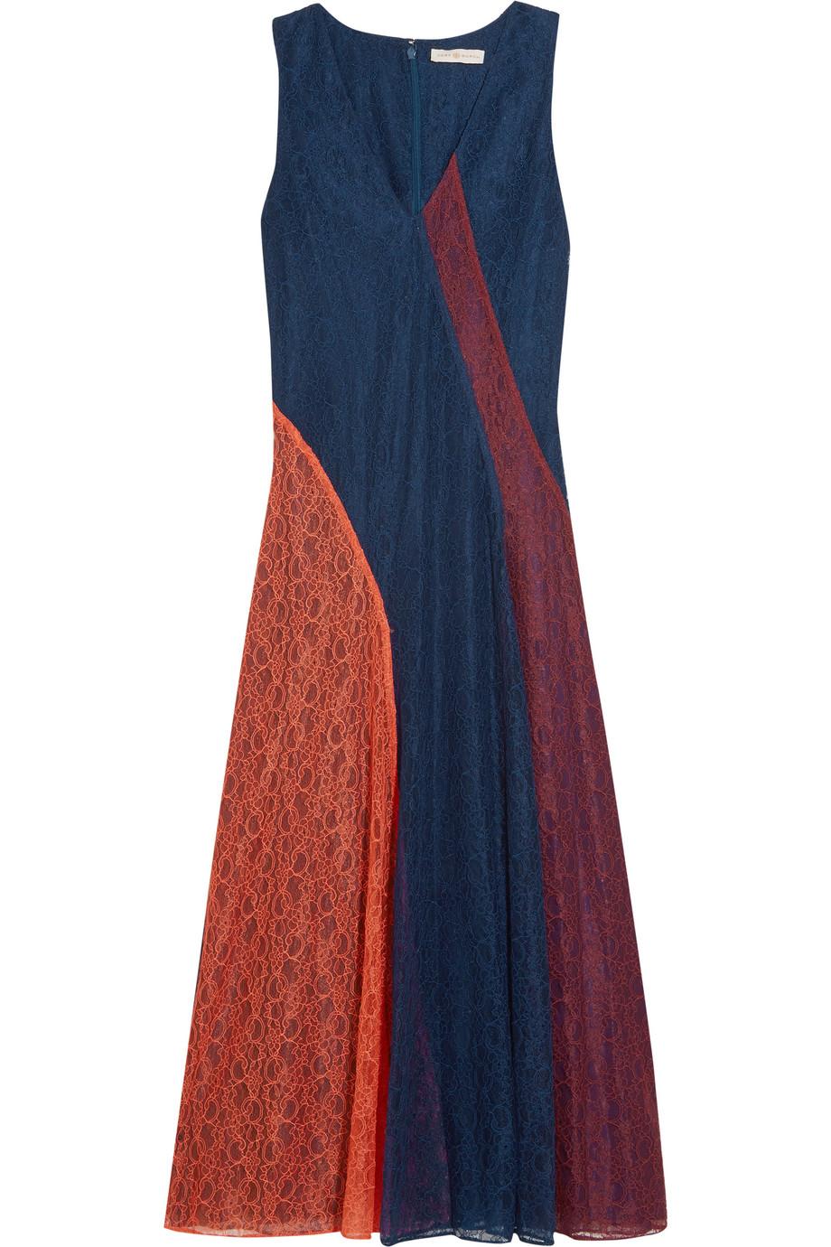 Tory Burch Iliana Paneled Lace Midi Dress, Size: 6