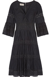 Temperley London Desdemona pleated cotton-voile and guipure lace dress