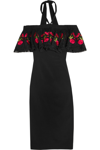 Temperley London Downs Lyra off-the-shoulder embroidered stretch-crepe dress