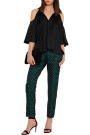 Temperley London Luna cutout crepe de chine blouse