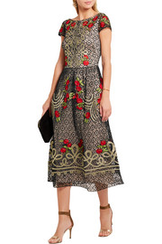 Temperley London Antila embroidered cotton-blend lace midi dress