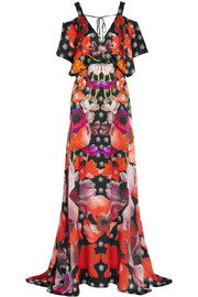 Temperley London Myrtle floral-print hammered-silk maxi dress