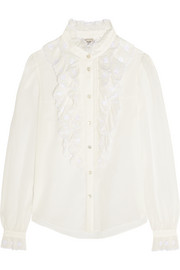 Temperley London Etta ruffled embroidered cotton-blend shirt