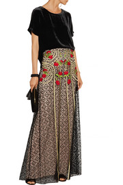 Temperley London Antila embroidered cotton-blend lace maxi skirt