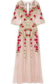 Temperley London Antila embroidered cotton-blend lace maxi dress