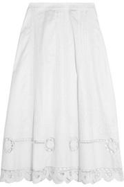 Temperley London Bellanca embroidered cotton-poplin midi skirt