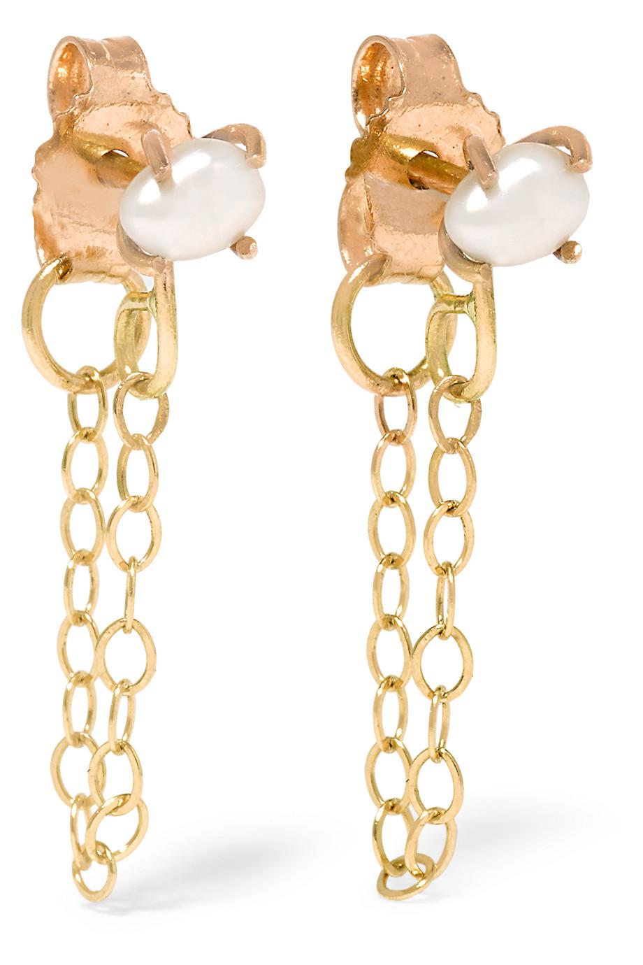 14-Karat Gold Pearl Earrings, Melissa Joy Manning, Women's