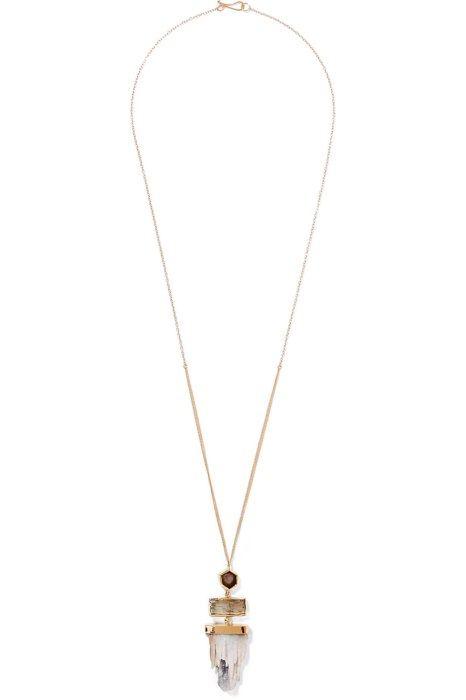 14-Karat Gold Tourmaline and Druzy Quartz Necklace, Melissa Joy Manning