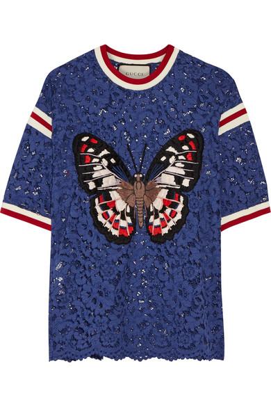 Gucci - Appliquéd Lace Top - Royal blue