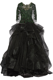 Marchesa Embellished tulle and ruffled organza gown