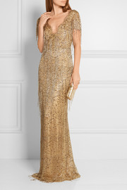 Marchesa Embellished fringed lace gown