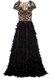 Marchesa Feather-trimmed embellished tulle and chiffon gown