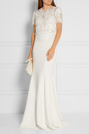 Marchesa Embellished embroidered lace and tulle top