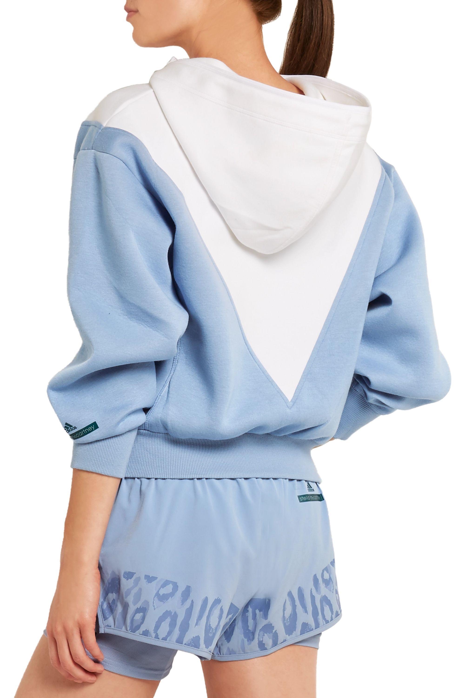 adidas by Stella McCartney Studio hooded two-tone modal-jersey jacket