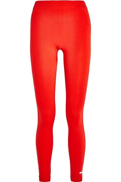 Adidas by Stella McCartney - Climalite Honeycomb Mesh-paneled Stretch-jersey Leggings - Red