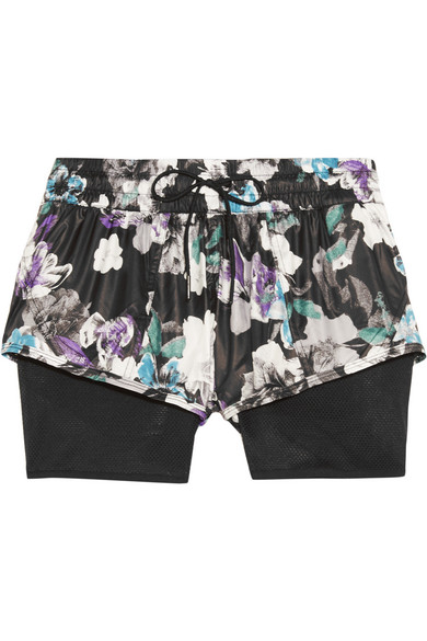 adidas by stella mccartney female 188971 adidas by stella mccartney layered floralprint shell and mesh shorts black