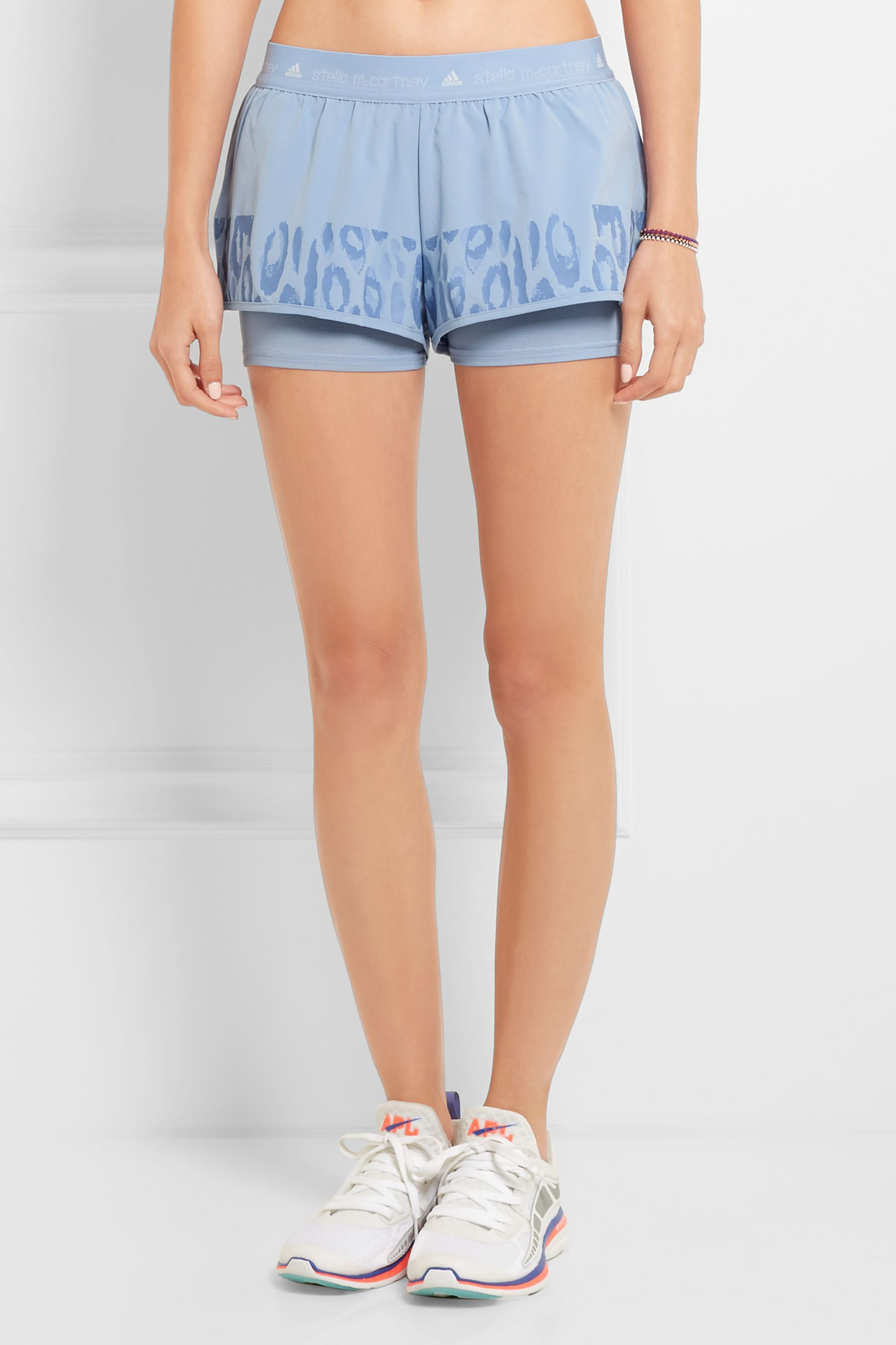 adidas by Stella McCartney Studio leopard-print Climalite® shell and mesh shorts