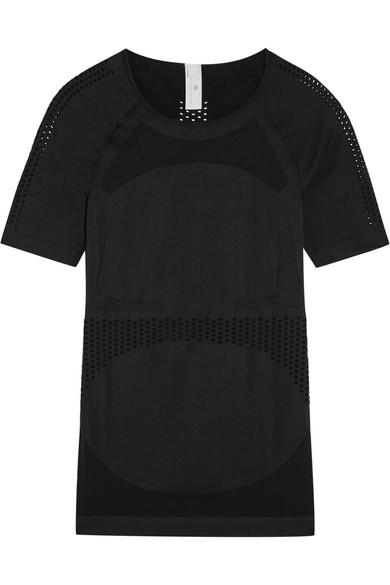 adidas by stella mccartney female 188971 adidas by stella mccartney perforated stretchjersey tshirt black