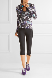 Adidas by Stella McCartney Floral-print hooded Climacool® top
