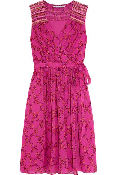 diane von furstenberg female 231934 diane von furstenberg bali floralprint silkgeorgette dress fuchsia