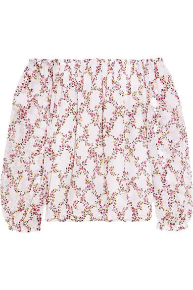 diane von furstenberg female 45883 diane von furstenberg kamber offtheshoulder floralprint silkchiffon top white