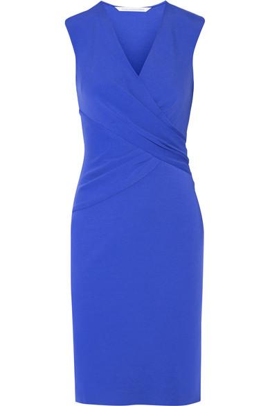 diane von furstenberg female 201920 diane von furstenberg leora wrapeffect stretchcrepe dress bright blue