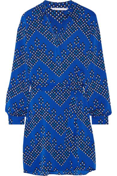 diane von furstenberg female 201920 diane von furstenberg seanna printed stretchsilk shirt dress bright blue