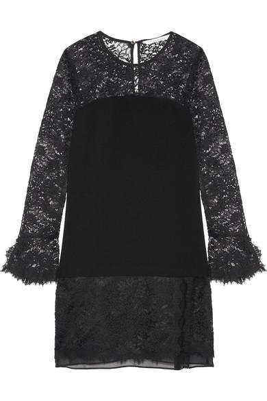 diane von furstenberg female 188971 diane von furstenberg lavana silk chiffontrimmed lace and crepe mini dress black