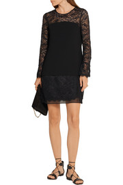 Diane von Furstenberg Lavana silk chiffon-trimmed lace and crepe mini dress