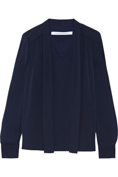 Diane von Furstenberg - Britni Pussy-bow Silk-georgette Blouse - Navy