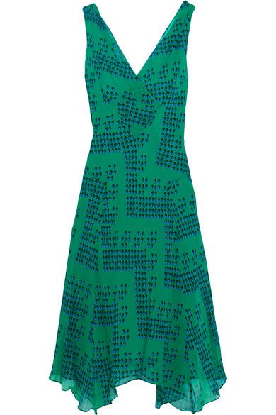 diane von furstenberg female 227429 diane von furstenberg dita printed silkgeorgette dress forest green