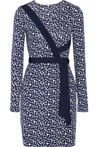 Diane von Furstenberg - Vienna Reversible Printed Silk-jersey Wrap Dress - Navy