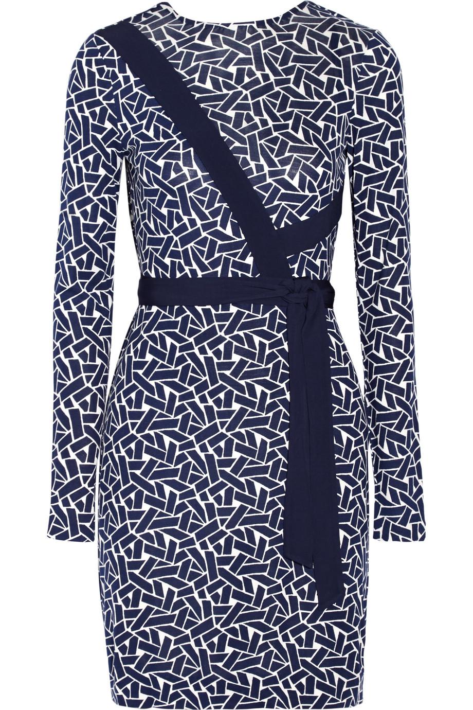 Diane Von Furstenberg Vienna Reversible Printed Silk-Jersey Wrap Dress, Navy, Women's - Printed, Size: 0