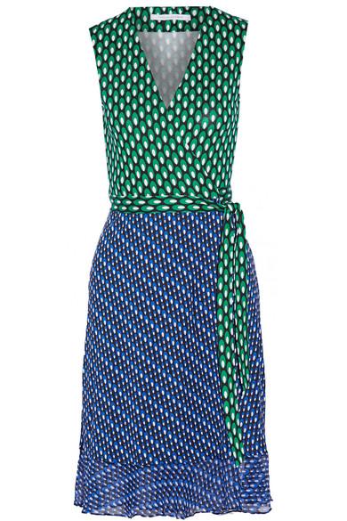 Diane von Furstenberg - Bethanie Printed Chiffon-trimmed Silk-jersey Wrap Dress - Green