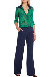 Diane von Furstenberg Katara stretch-silk crepe flared pants