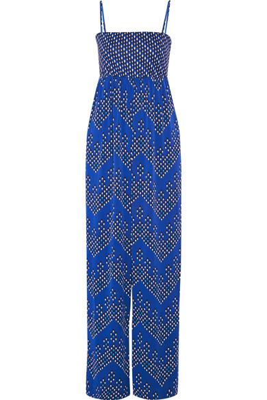 diane von furstenberg female 201920 diane von furstenberg ivena printed stretchsilk jumpsuit bright blue