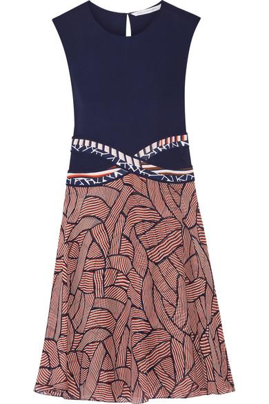 diane von furstenberg female 236621 diane von furstenberg rosalie jersey and printed chiffon dress navy