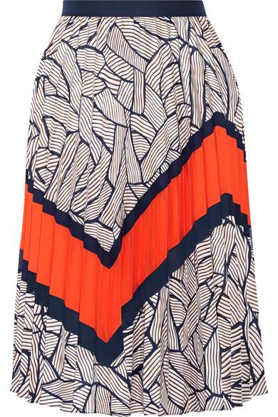 diane von furstenberg female 236621 diane von furstenberg saphira pleated chiffontrimmed printed crepe de chine skirt navy