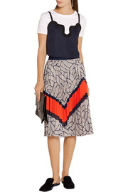 Saphira pleated chiffon-trimmed printed crepe de chine skirt