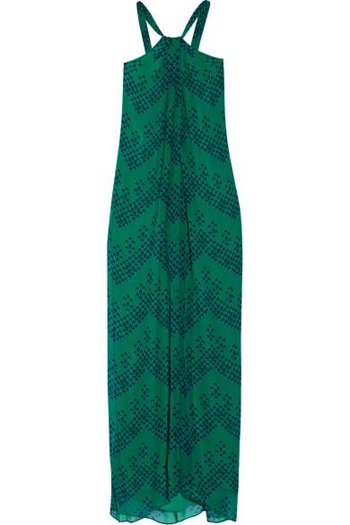 diane von furstenberg female 227429 diane von furstenberg lilita printed silkchiffon maxi dress green