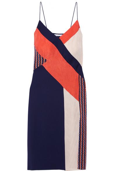 diane von furstenberg female 236621 diane von furstenberg frederica paneled printed stretchsilk dress navy