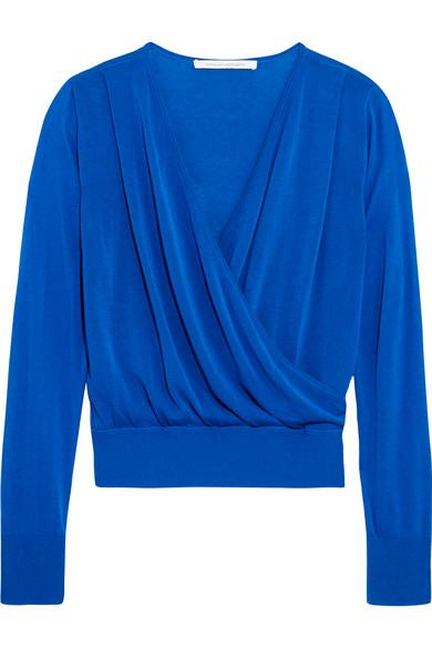 diane von furstenberg female 201948 diane von furstenberg wrapeffect cottonblend sweater cobalt blue