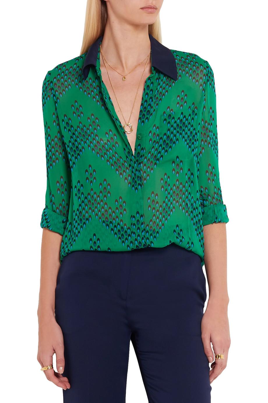 3853cd8a76c24d Diane von Furstenberg Lorelei printed silk-georgette blouse - Crimson  strings