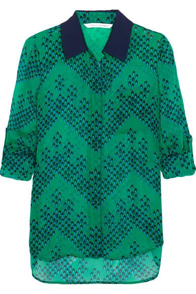 diane von furstenberg female 227429 diane von furstenberg lorelei printed silkgeorgette blouse green